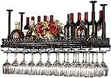Bedspread Retro Wall Wine Racks Metal Iron Storage Shelf in Bar Loft Ceiling Wall Mounted Hanging Wine Champagne Glass Goblets Stemware Rack Wine Bottle Holder (Color : Black, Size : 60×35cm)