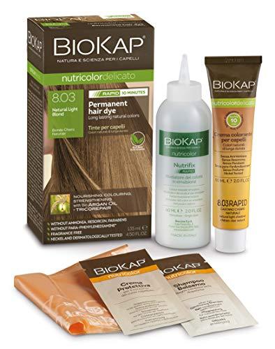 BioKap Natural Light Blond 8.03 Rapid Haarfarbe 135 ml - wirkt in nur 10 Minuten, permanente, vegane & natürlich pflegende Formel geeignet für empfindliche Haut...