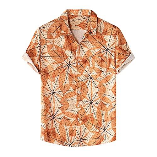 D-Rings Pacific Legend - Camisa hawaiana original para hombre, de manga corta, con estampado floral hawaiano, tatuaje tradicional, color crema naranja XXL