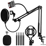 Microphone Stand, EPTISON Mic Boom Arm with Adjustable Suspension Scissor Arm Stand, Pop Filter, 3/8' to 5/8' Screw Adapter, Mic Clip, Phone Holder, for Blue Yeti, Blue Snowball and Other Mics