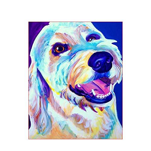 Peinture bricolage par numéros chiens animaux peint à la main peinture à l'huile peinture dessin sur toile cadeau unique décoration murale-991627-40x50 cm cadre de bricolage
