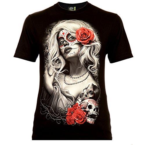 Santa Muerte with White Hair Herren T-Shirt Schwarz Gr. L Glow in The Dark