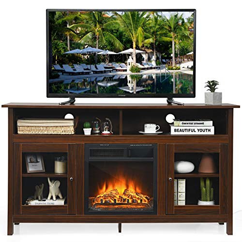 Tangkula Fireplace TV Stand, Farmhouse Media Console Table w/18 1500W Electric Fireplace for Flat...