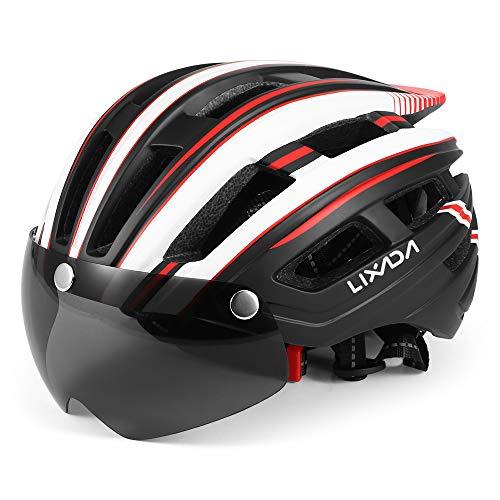 Lixada Casco de Bicicleta de Montaña Casco de Motociclismo con Visera Magnética Desmontable Ligero Protector UV Unisexo