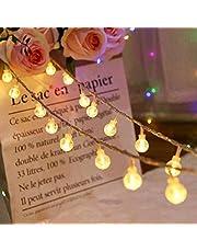 Globe Fairy Lights 30ft 80 LED String Lights Batterij Werkt met Afstandsbediening Waterdichte Indoor Outdoor Tuin Verlichting voor Kerstmis, Slaapkamer, Patio, Gazebo Decor - Warm Wit