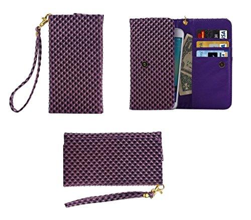 DFVmobile - Etui Tasche Schutzhülle mit Designperle Rasterfeld Gewebe mit Kartenfächer für JiaYu G5 - Violett