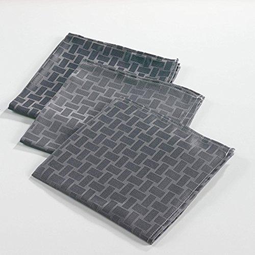douceur d'intérieur 3 serviettes de table 40x40 cm maillon anthracite