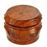NeraNena Herb Spices Grinder Wooden Design High Grade Metal (2.4 Inch) (Dark wood)