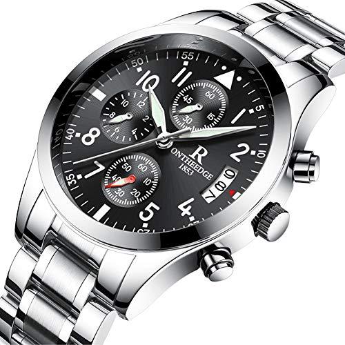 Heren Horloge Ronde Quartz 6-Pin Horloge Staal Riem Met Kalender 30 Meter Leven Waterdichte Multifunctionele Zakelijke Horloge Stuur Vriendje Stuur Papa Gift