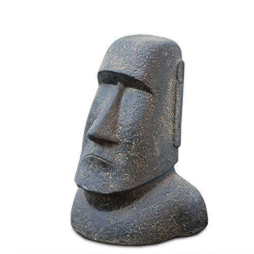 Moai Rapa-Nui Statue ca. 40 cm aus Lavasand Osterinsel-Figur Garten Deko Kopf Stein Grau