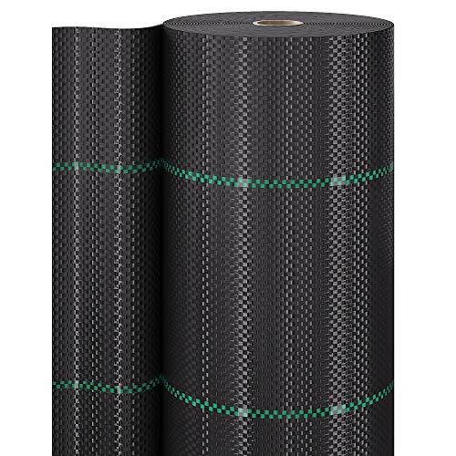 GardenGloss 50m² Malla Antihierbas 100g/m² - Permeable al Agua y Estable a los Rayos UV - Geotextil Resistente al desgarro para Jardín - Tela Antihierba contra Las Malas Hierbas (50m x 1m, 1 Rollo)