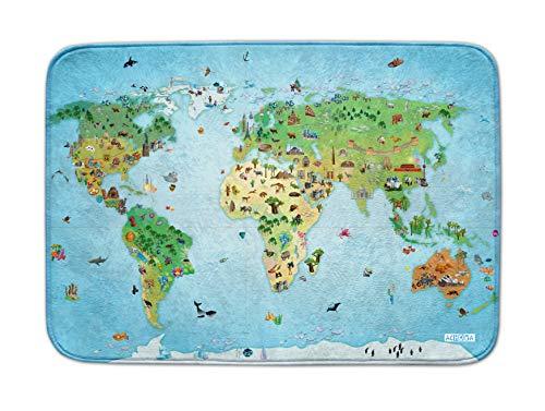 Achoka Tapis de Sol Anti Dérapant Carte du Monde pour Bébés et Enfants – Filles et Garçon-Ultra Doux 180x130cm-Tapis de Jeux et Décoration-Education, 86033-E3, bleu, 130x180cm
