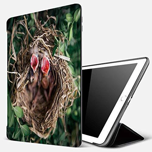 Qinniii Carcasa con Magnetic Auto-Sueño,Bebé Nido De Pájaro Nido De Pájaro Tema Animal Lindo Pájaro Tema De La Planta Verde,Ligéra Protectora Suave Silicona TPU Smart Cover Case para iPad 5./6.