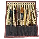 Uigerl Shanlian Hubi Claborate-Style Painting Writing Brush Watercolor Chinese Calligraphy Brush Set Kanji Japanese Sumi Painting Drawing Brushes 11 Piece/Set+Roll-up Bamboo Brush Holder