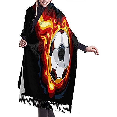 Nice-Guy Balón de fútbol ardiente Bufanda de mujer Acogedor Bufandas ligeras Bufandas de invierno a prueba de viento con flecos Chal de cachemira