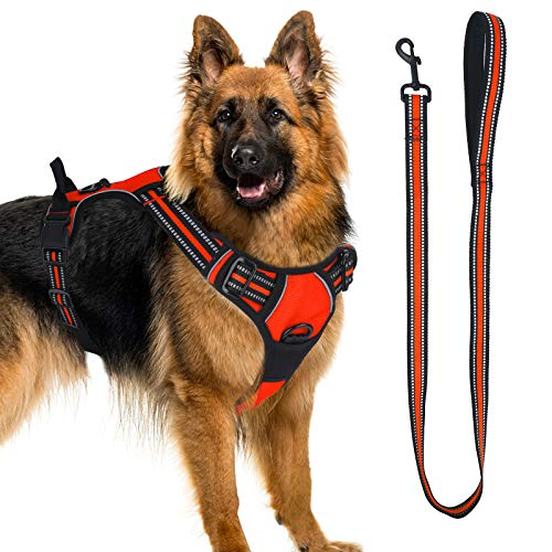 Dog Harness, No-Pull Pet Harness with a Matching Dog Leash - Breathable Chest Padded Mesh Adjustable Reflective Dog Vest, Front/Back Leash Clips and Easy Control Handle for Outdoor Walking Training