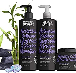 Not Your Mother's Activated Bamboo Charcoal & Purple Moonstone Shampoo, Conditioner & Scalp Scrub Hair Care Set