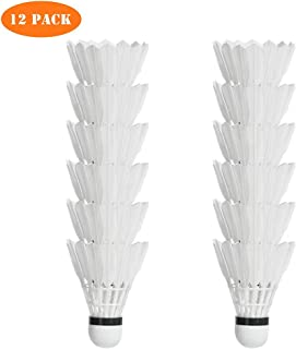 Badminton Shuttlecock,12 Pack Stable & Durable Sport Training Badminton Feather Balls for Indoor Outdoor Game
