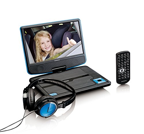 Lenco tragbarer DVD-Player DVP-910 9 Zoll (22,5 cm) mit drehbarem Display und Integriertem Akku (USB, AV-Ausgang), Netzadapter, Kopfhörer, blau