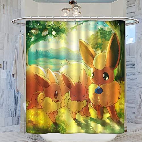 Schicker Stoff-Duschvorhang Anime Pokemon Eevee Play with His Partner, Leinwanddrucke für Duschvorhang, 183 x 183 cm