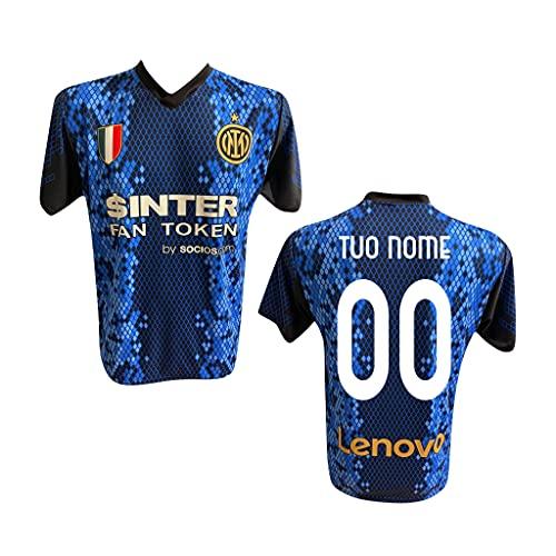F.C. Inter Maglia Replica Calcio Home Nero Blu Ufficiale Autorizzata Personalizzata Personalizzabile 2021 CALHANOGLU Correa Zanetti Dzeko SKRINIAR BARELLA BROZOVIC LAUTARO Adulto e Bambino