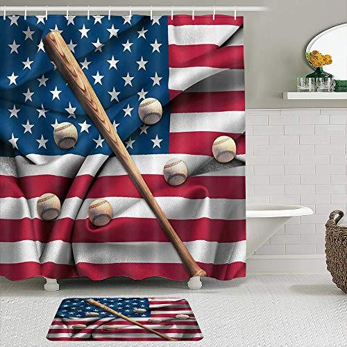 BCVHGD Juegos de Cortinas de Ducha con alfombras Antideslizantes,Bandera Estadounidense Vintage Béisbol y murc, Ganchos para Cortinas de baño repelentes al Agua y Alfombra de baño incluidos