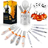 Pumpkin Carving Kit, Pumpkin Carving Tools, 11 Pcs Professional Halloween Pumpkin Carving Kit for Kids and Adults ( 4 Stencils and 1 Skull Storage Bucket Included)