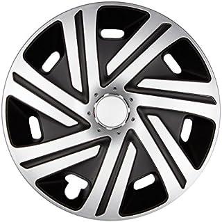 Premium Radkappen Radzierblenden Radblenden 'Modell: Cyrkon' 4er Set, Farbe: Silber Schwarz, Felgendurchmesser:15 Zoll