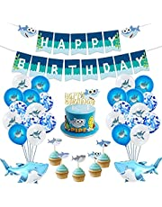 Birthday Party Decoration for Boys Kids, Baby Shark Party Supplies Kits with Happy Birthday Banner, 20 Cupcake Toppers, 26 Birthday Balloons, 1 Shark Felt Garland(Set 48 Pcs)