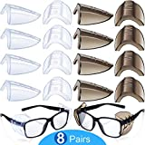8 Pairs Safety Eye Glasses Side Shields Slip Clear Flexible Slip Clear Flexible Slip On Shield Fits Small Medium Eyeglasses Added More Protection on Safety Glasses (Transparent and Black)