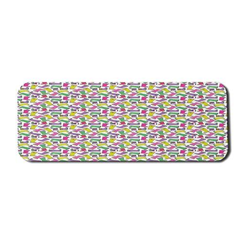 Buntes Computer-Mauspad, Funky Gummistiefel in Tupfenstreifen, Rechteck rutschfestes Gummi-Mauspad Groß Mehrfarbig