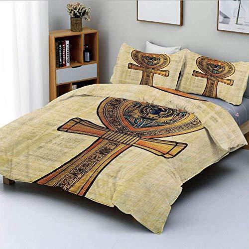 Juego de funda nórdica, papiro antiguo que presenta la clave de la vida Imperio tradicional Estampado egipcio Juego de cama decorativo de 3 piezas con 2 fundas de almohada, naranja crema, el mejor reg