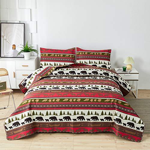 Lodge Bettbezug-Set für Doppelbett/Queen-Size, rustikale Kabinen-Bettwäsche, Elchbär, bedruckt, Tagesdecke, weich, leicht, wendbar, Ganzjahres-Bettlaken, Decke, 1 Steppdecke, 2 Kissenbezüge