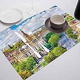 FloraGrantnan Decor - Manteles individuales resistentes al calor, diseño de paisaje urbano de Sevilla, para eventos, bodas, fiestas interiores y exteriores, juego de 10 unidades
