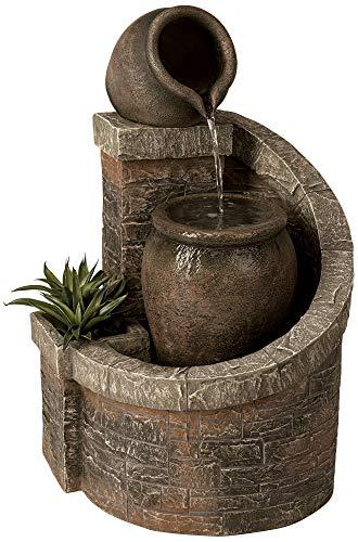 John Timberland Verona 35' High Rustic Brick Garden Fountain with LED Light