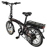 Bicicleta Eléctricas Negro Bicicletas Plegables, Compacta con Rueda de 20 Pulgadas 25 km/h,hasta 45-55 km Bicicletas De Carretera para Mujeres/Hombres