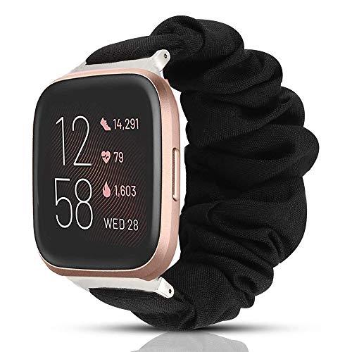 LvBu Armband Kompatibel mit Fitbit Versa 2, weiche Haargummis Uhrenarmband für Fitbit Versa 2 Health & Fitness Smartwatch (Schwarz)