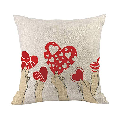 TwoCC  I Love You Fodera per Cuscino in Lino Durevole Fodera per Cuscino Valentine Lover Gift 18 'X18' 45X45Cm-I Love You (A)