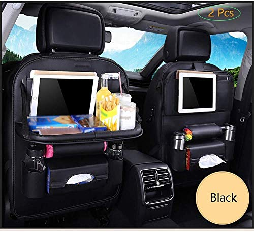 WDINN-gj 2 Pcs Car Back Seat Organizer Waterproof Leather Kick Mats Folding IPad Tablet Holder with Multi Pockets for Kids and Toddlers (Color : E)