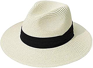 FHSY Panama Hat Summer Sun Hats For Women Man Beach Straw Hat For Men UV Protection Cap (Color : Ivory, Size : M)