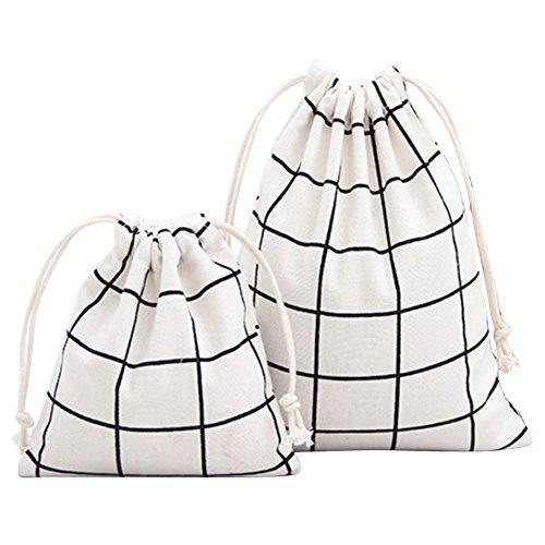 Outflower 2 tailles Tissu Cordon de serrage Sac à dos Sac pliable pour l'école Home Voyage Sport Stockage Noir, blanc, 14 X 16cm,19 X 24cm