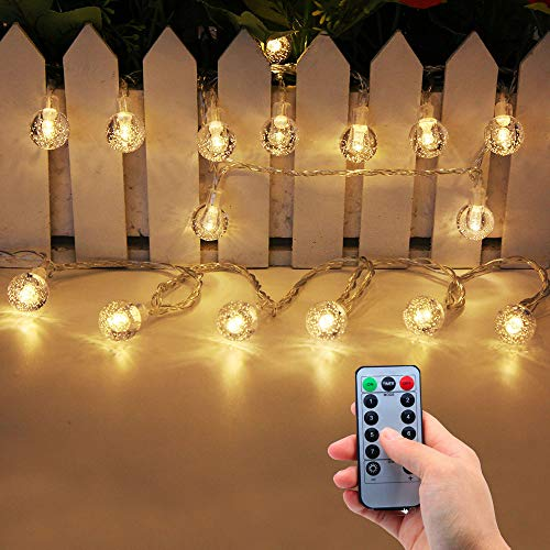 Lezoey Battery Operated String Lights Warm White 33Ft 80 Led Bulb Fairy Lights with Remote for Indoor Outdoor Patio Christmas Decorative Lights