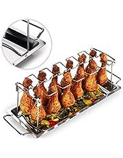 Blumtal Supporto Pollo Arrosto Forno, Supporto Cosce e Alette di Pollo in Acciaio Inox, Griglia BBQ