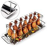 Blumtal Supporto Pollo Arrosto Forno, Supporto Cosce e Alette di Pollo in Acciaio Inox, Supporto Pollo BBQ Griglia