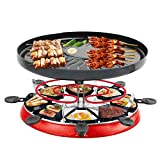 Ensemble de vin Raclette Grills pour 3-5 Personnes sans fumée Barbecue intérieur Traditionnel Gourmet Party Grill avec 8 casseroles antiadhésives thermostatique réglable contrôle de la Chale