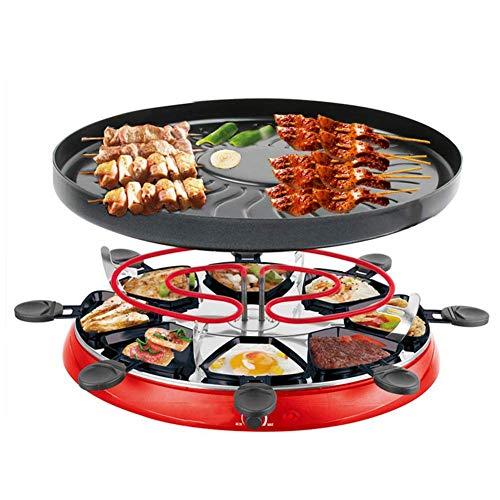 Wein Set Raclette Grills für 3-5 Personen Rauchloser Innengrill Traditioneller Gourmet Party Grill mit 8 Antihaft-Pfannen Einstellbare thermostatische Wärmeregelung 1300W