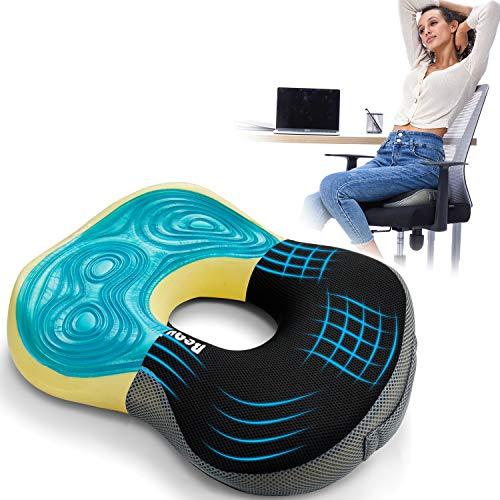 BEAUTRIP Cojín de asiento de espuma viscoelástica con gel | Cojín ergonómico para el coxis | Cojín anti-decúbito para silla de ruedas de silla de oficina para automóvil | Cojín de silla cómodo y firme