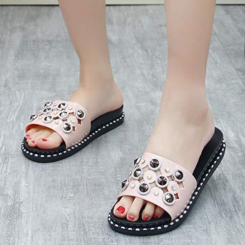 Zapatos de Playa Piscina Unisex Adulto,Zapatillas de tacón de pendiente de moda para mujer, sandalias de plataforma con plataforma de uso exterior-Rosa diamante_39,Zapatillas de ducha para el hogar
