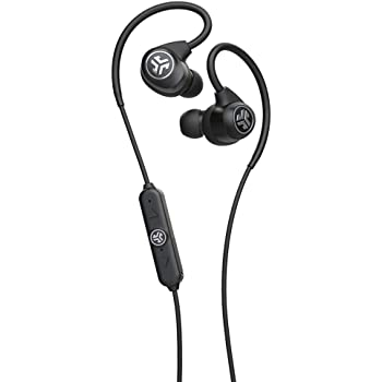JLab Audio Epic Sport2 Wireless Earbuds | Black | Active Lifestyle 20+ Hour Battery Life | Bluetooth 5 | IP66 Sweatproof | Built in Microphones | Noise Isolation | Extra Gel Tips & Cush Fins