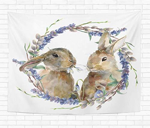 N\A Home Tapiz Decorativo para Colgar en la Pared Acuarela Conejito de Pascua Guirnalda Floral Conejo Lavanda Sauce Tapices Manta de Pared para Dormitorio Sala de Estar Dormitorio